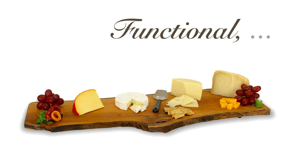 "Extra large cheeseboard with cheeses reading ""Functional"""