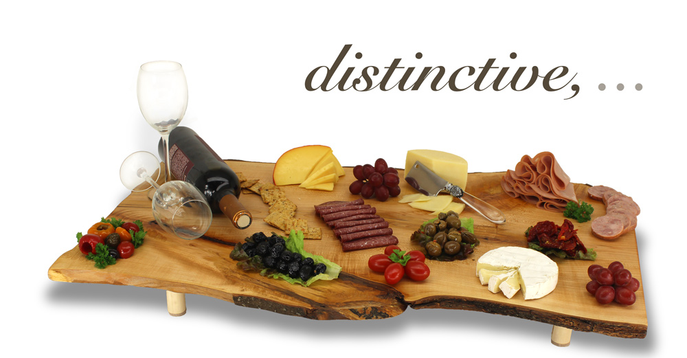 "Presentation Platter with wine, cheeses and meats reading ""Distinctive"""