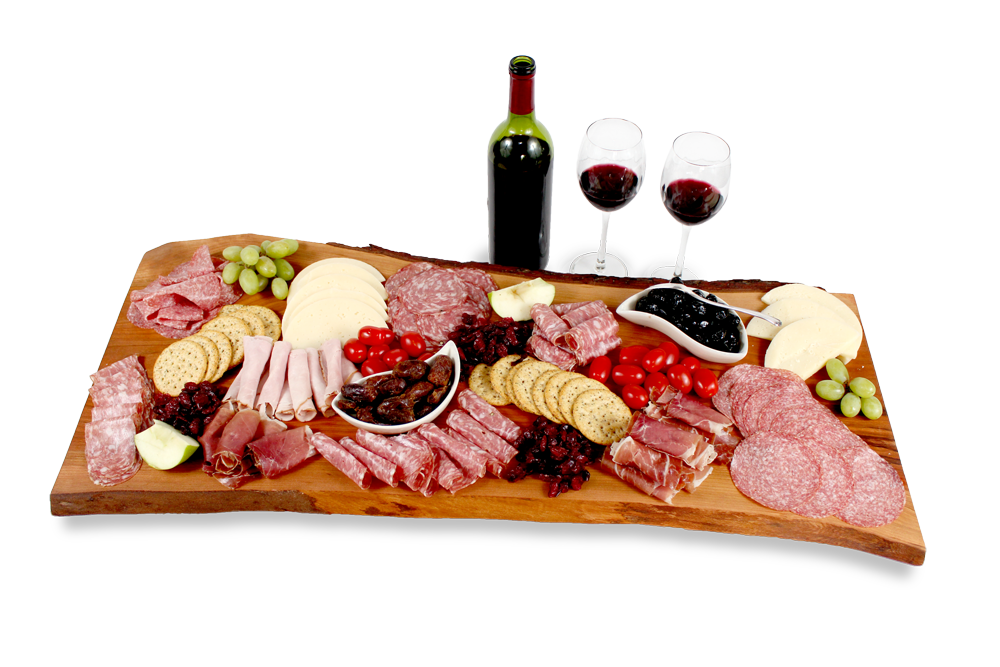 Cheese board with cheese, meat and wine