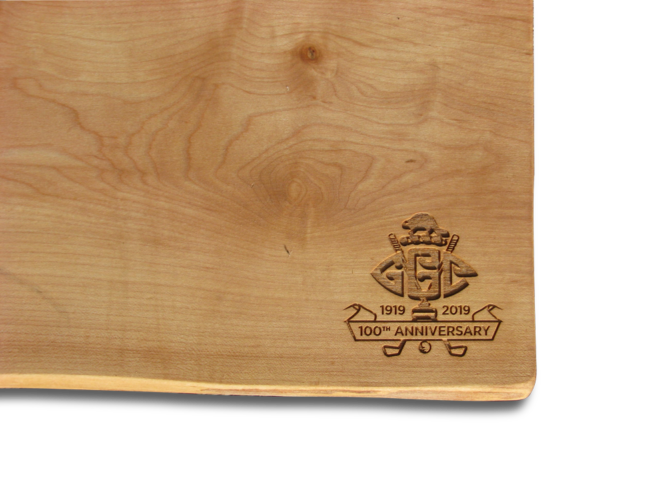Photo of Canadian Cheese Board engraved for a 100th anniversary event